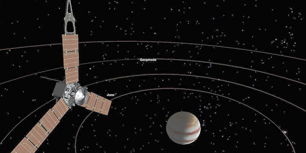 Juno spacecraft in orbit around Jupiter