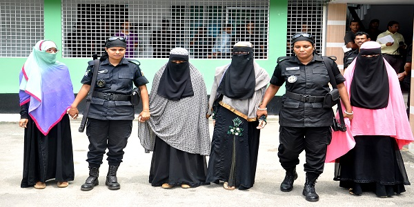 Female militants suspect collect money for the banned outfit