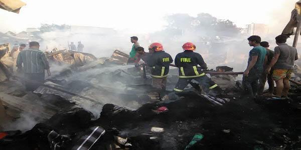 Fire damages 200 shanties in  Dhaka's Korail slum