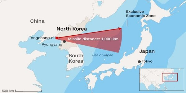 Korea Launches Missiles Towards Japan Sea - Japan map missile