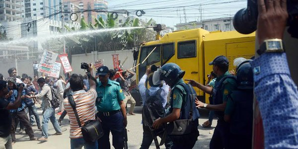 Police fire water-cannon to foil protest in Bangladesh