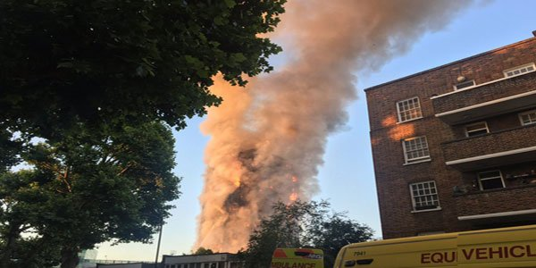 Fire rips through London residential tower
