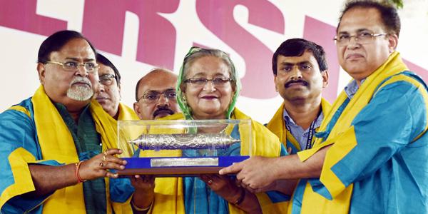 Hasina receives honorary Doctor of Literature from Kazi Nazrul University