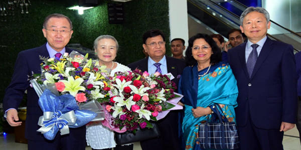 Ban Ki-moon, Hilda Heine arrive in Dhaka to join climate adaptation meeting