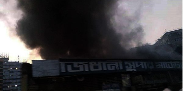 Fire guts shops at Rajdhani Super Market