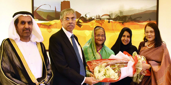 Hasina reaches Abu Dhabi to attend sustainable development gathering