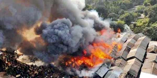 Fire razes shanties in Bangladesh capital