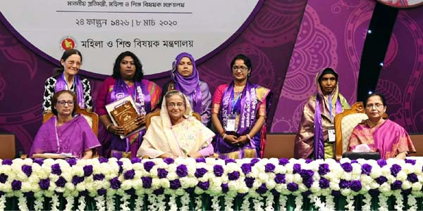 Hasina urges womenfolk to move ahead with self-confidence, dignity